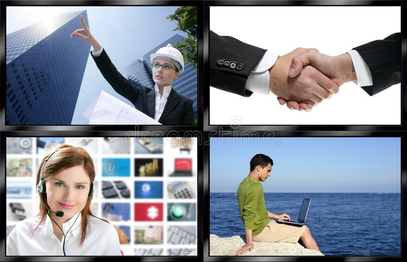 Black frame television multiple screen wall stock images