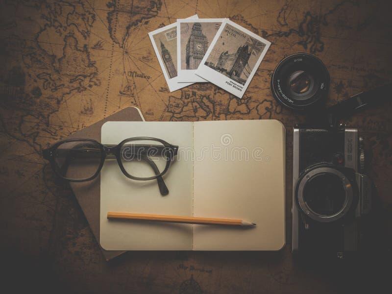 Black Framed Eyeglasses on White Empty Book royalty free stock photo