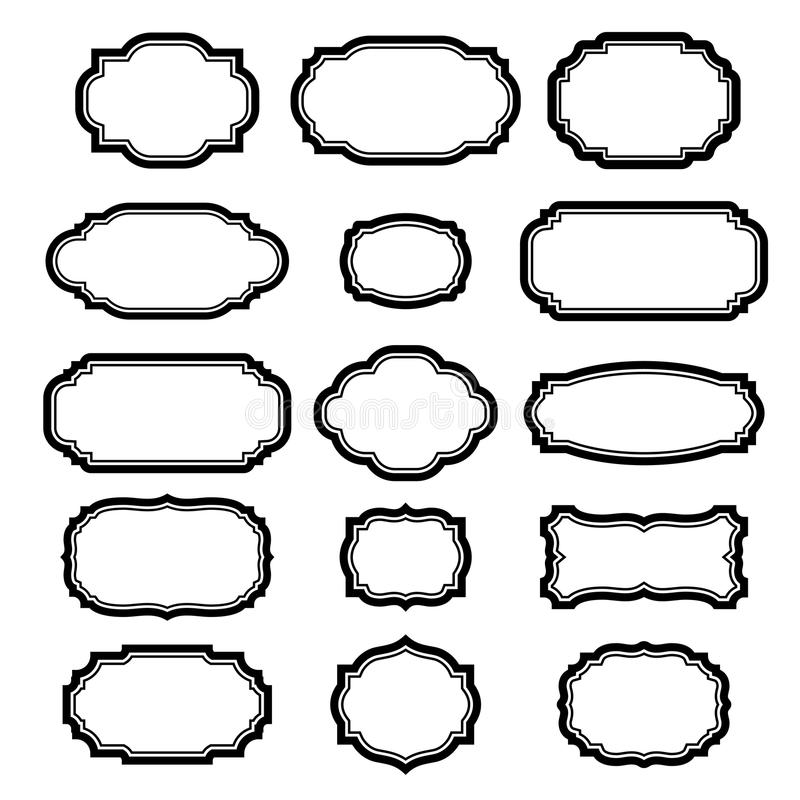Black Frames Set For Pictures Beautiful Simple Design Vintage Style Decorative Border Isolated On White Background Deco Elegant Art Object