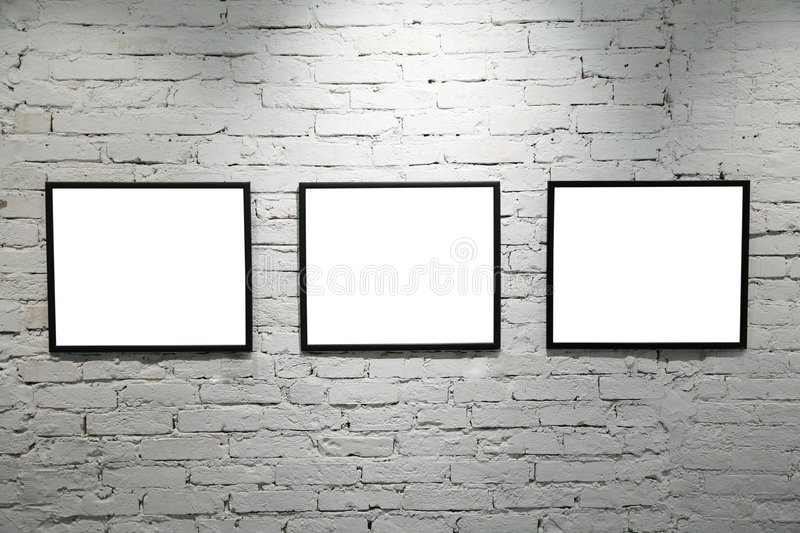 Download Black Frames On White Brick Wall 2 Stock Image - Image of indoors, museum: 4485953