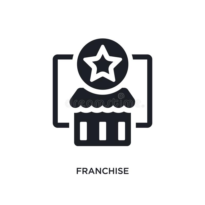 black franchise isolated vector icon. simple element illustration from startup concept vector icons. franchise editable logo stock illustration