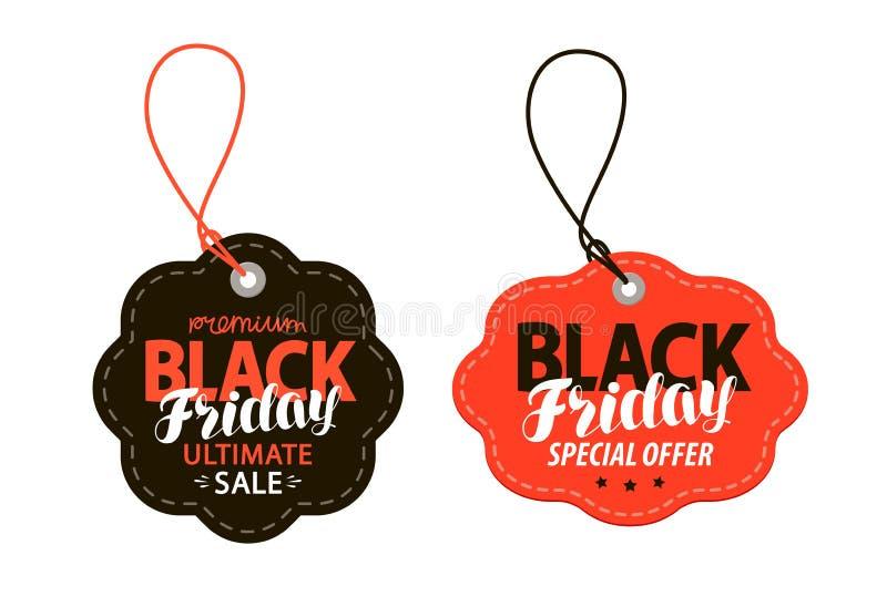 Black Friday, étiquette de ventes Faisant des emplettes, offre, concept de remise Illustration de vecteur illustration de vecteur