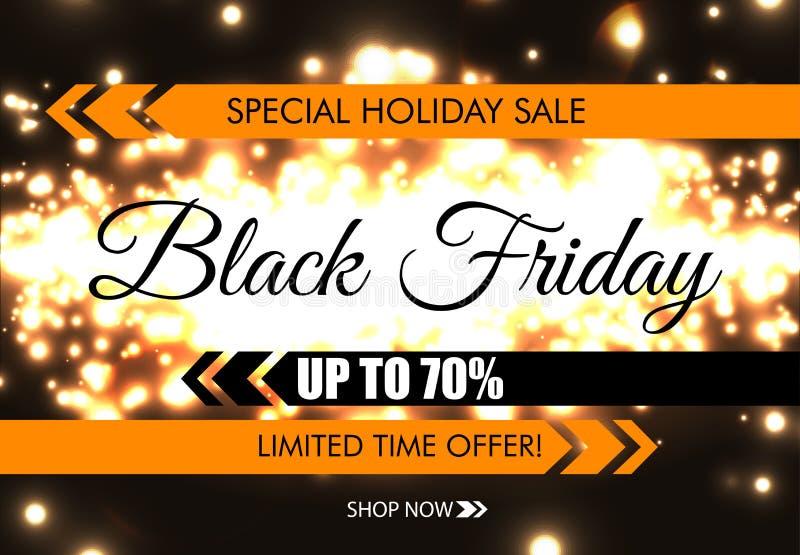 Black Friday łuny sieci iskrzasty sztandar Czarny tekst na ciemnym świecącym nocy tle Specjalna wakacyjna sprzedaż Up to 70 proce ilustracja wektor
