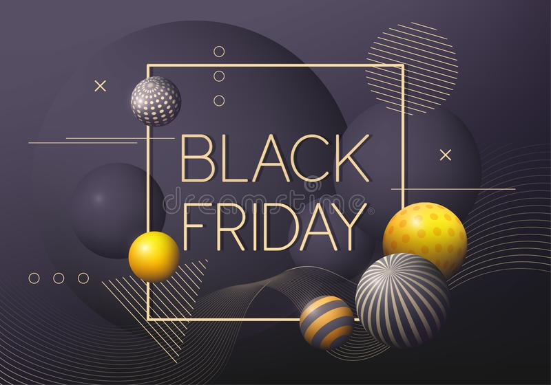 Black Friday poster with golden and black decorative 3D balls. Abstract background. Vector illustration stock illustration