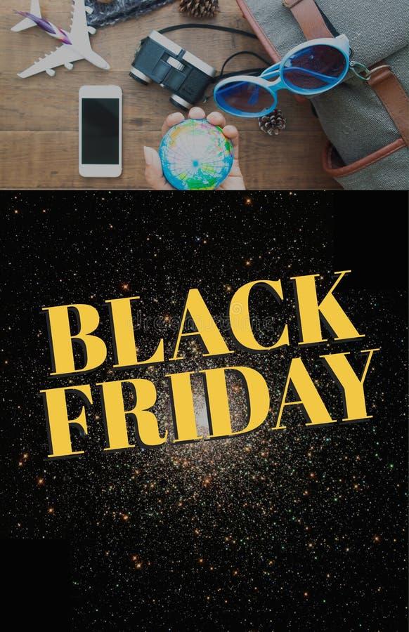 Black Friday affisch med bild av loppbegreppet arkivfoton