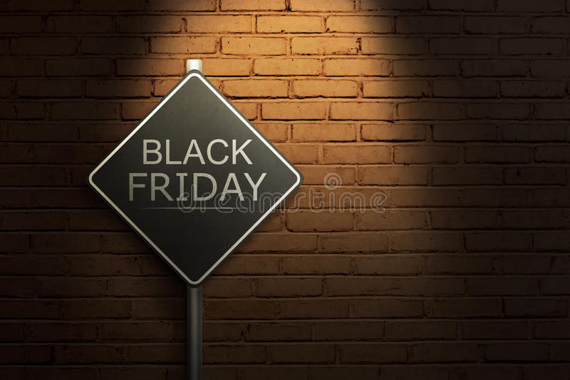 Black Friday auf dem schwarzen Verkehrsschild stockfotografie