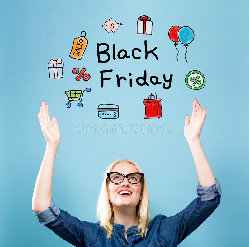 Black Friday avec la jeune femme image stock