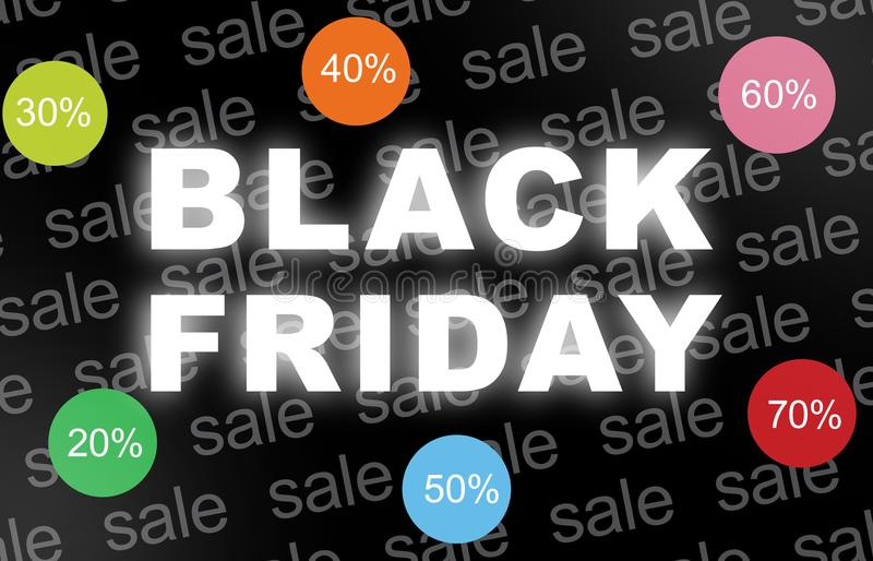 Black Friday background with with discount icons. stock images