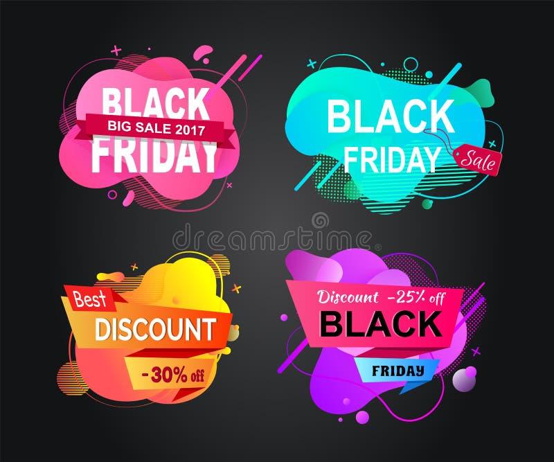 Black Friday baner med försäljningar, shoppar befordran royaltyfri illustrationer