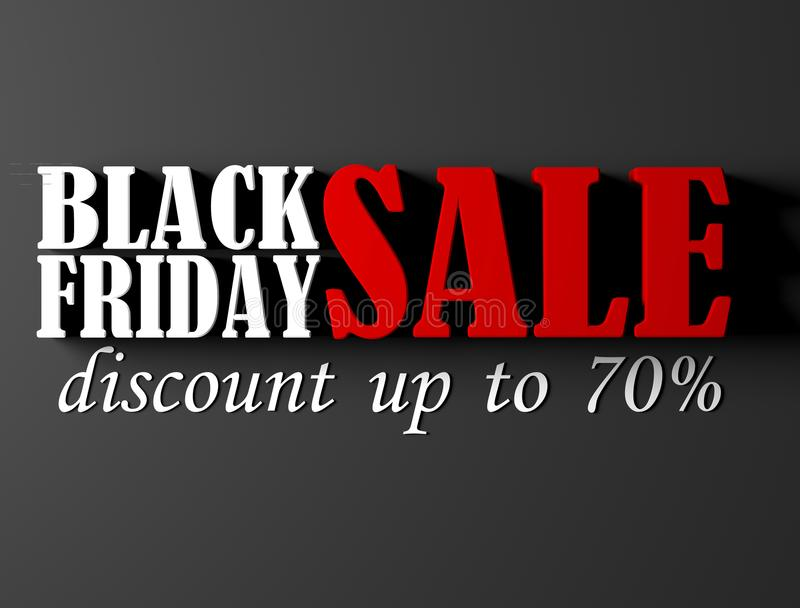 Black Friday banner with 70 percent discount stock image