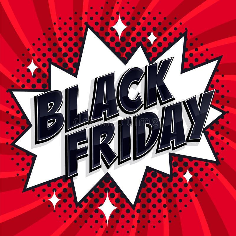 Black Friday-banner van de verkoop de Grappige stijl Zwarte vrijdaginschrijving op witte en rode achtergrond De stijlweb van de p vector illustratie