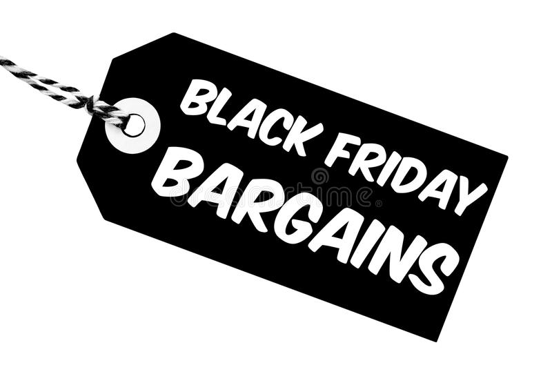 Black Friday Bargains Label With String. Black Friday Bargains label made from cardboard with string on an isolated white background stock illustration