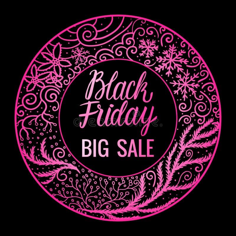 Black Friday-Beschriftungsaufschrift Großer Verkauf Rosafarbrundenrahmen-Handgezogene Verzierung Vektorabbildung getrennt stock abbildung