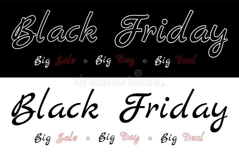 Black Friday - Big sale, big day, big deal. Description on the black or white background. Graphic for black friday. White cation on a black background and black royalty free illustration