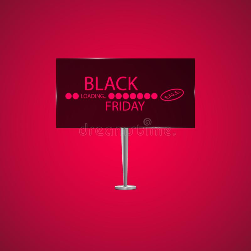 Black Friday on the billboard and Progress loading bar vector illustration