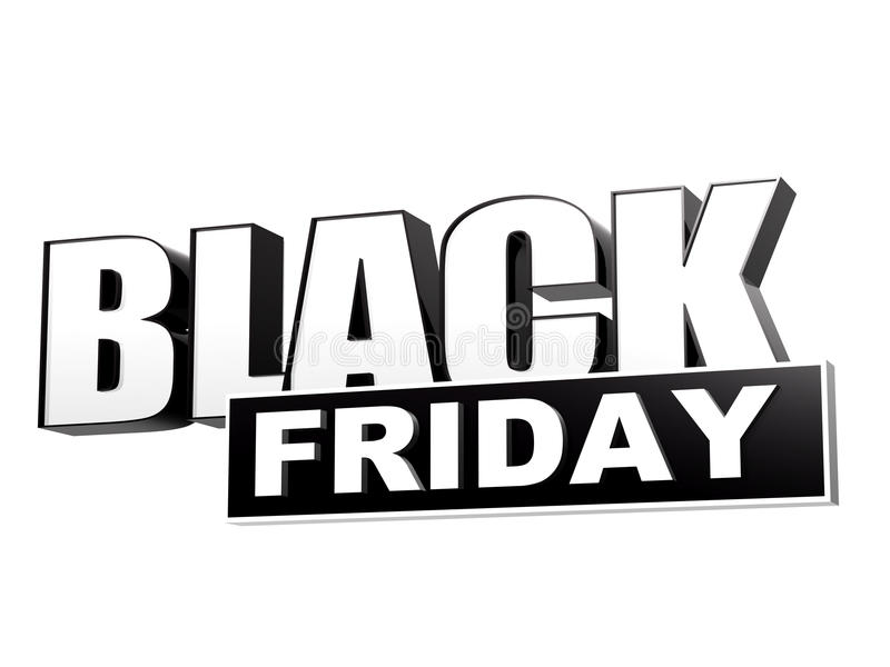 Black friday in black white banner - letters and block royalty free illustration