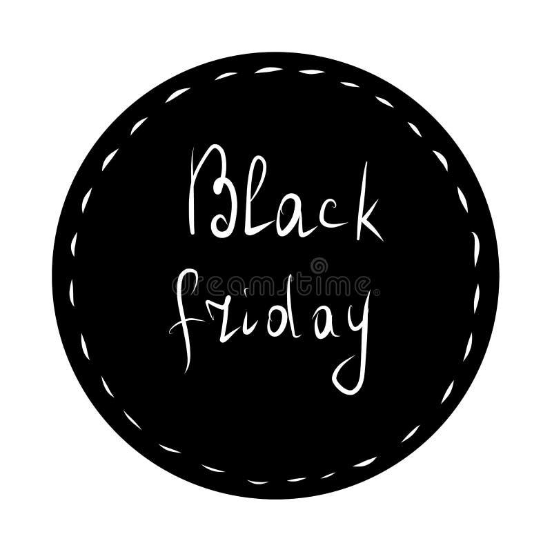 Black Friday bokstäver Svart klistermärke vektor illustrationer
