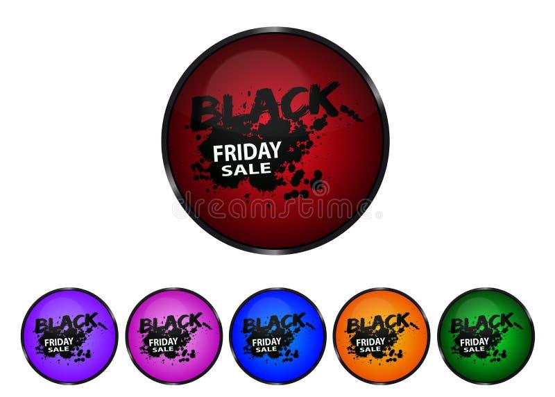 Black Friday - boutons brillants colorés illustration stock