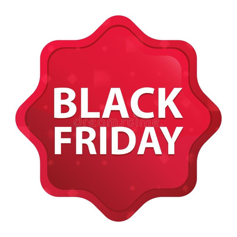 Black Friday brumeux s'est levé bouton rouge d'autocollant de starburst illustration libre de droits