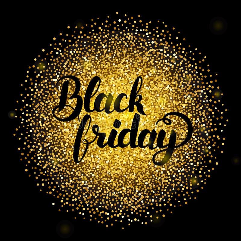 Black Friday che segna sopra l'oro illustrazione vettoriale