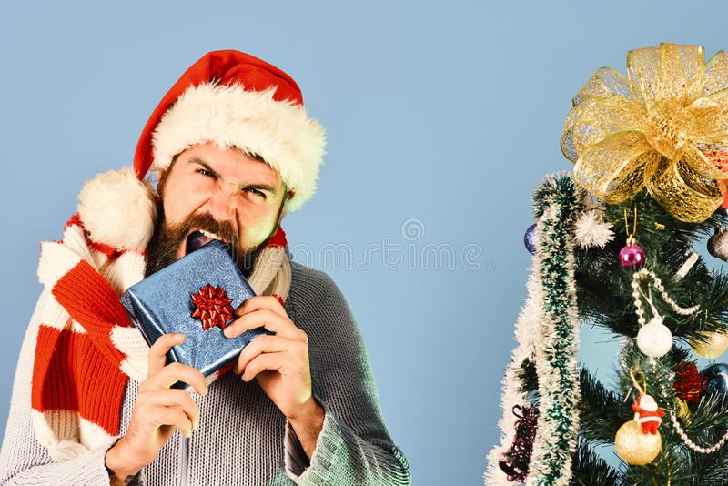 Black Friday before Christmas concept. Man with beard stock photo