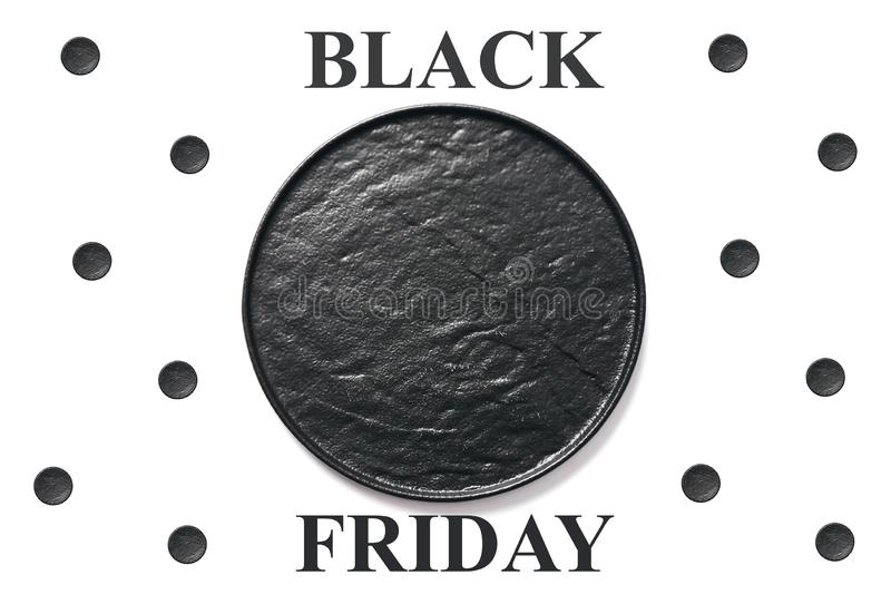 Black friday. Black circle plate on white background. Black friday concept. Black circle plate on white background. Copy space stock image