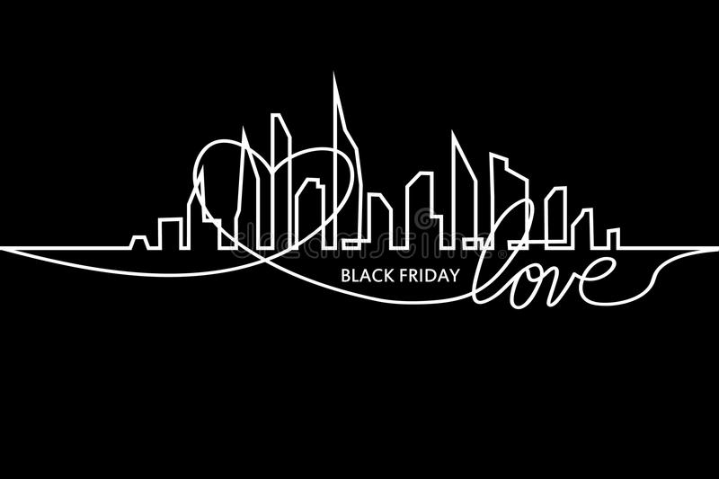 Black Friday in the City: the Perfect Sale. White Ribbon Banner in Flat Style on a Black Background with an Abstract. City Skyline and heart and text love stock illustration