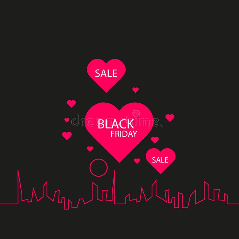 Black Friday in the City the Perfect Sale. White Ribbon Banner in Flat Style on a Black Background with an Abstract City. Skyline and heart and text love vector illustration