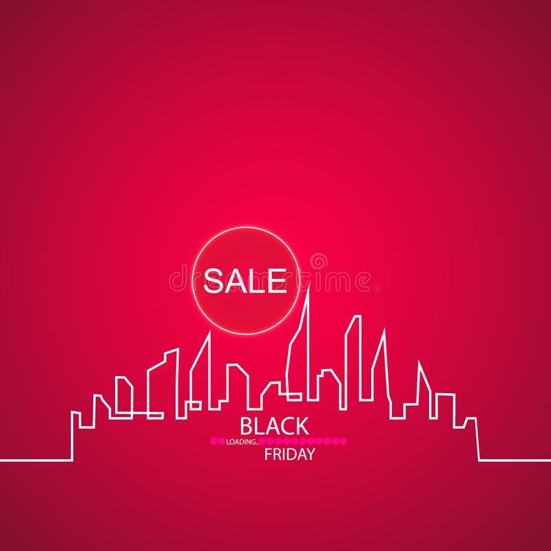 Black Friday in the City the Perfect Sale. White Ribbon Banner in Flat Style on a Black Background with an Abstract City. Skyline with Loading Bar. Vector stock illustration