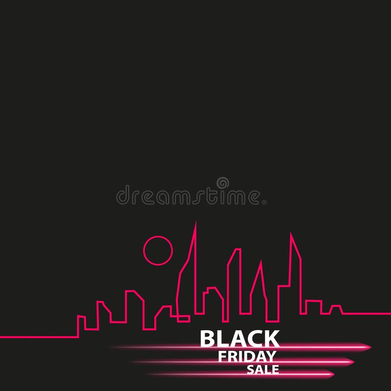Black Friday in the City the Perfect Sale. White Ribbon Banner in Flat Style on a Black Background with an Abstract City. Skyline. Vector Illustration royalty free illustration