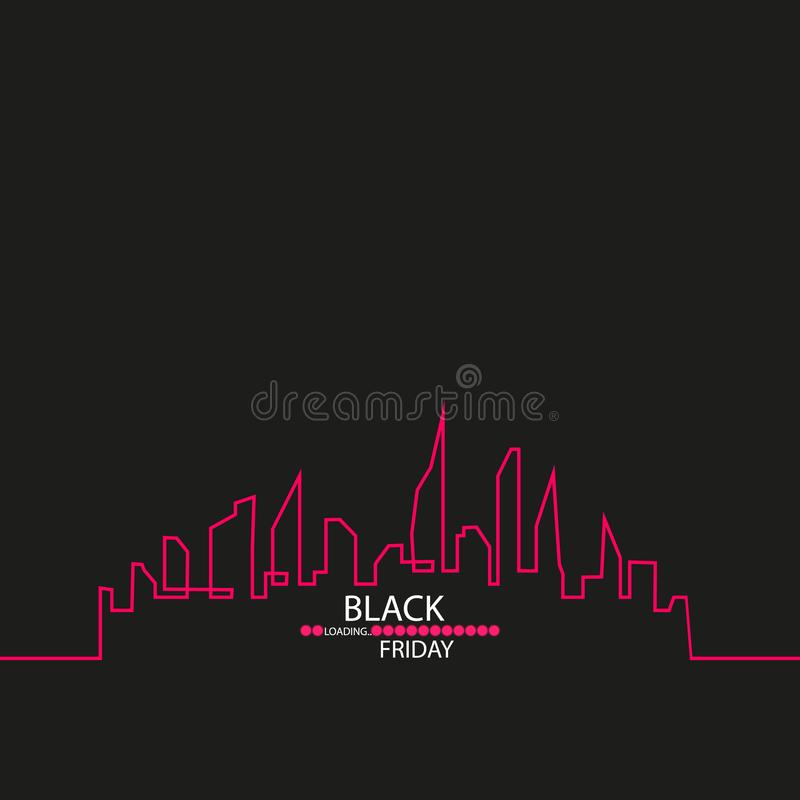 Black Friday in the City the Perfect Sale. White Ribbon Banner in Flat Style on a Black Background with an Abstract City. Skyline with Loading Bar. Vector vector illustration