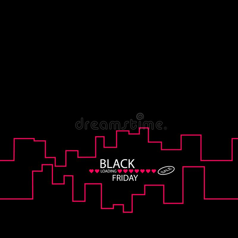 Black Friday in the City the Perfect Sale. White Ribbon Banner in Flat Style on a Black Background with an Abstract City. Skyline. Vector Illustration stock illustration