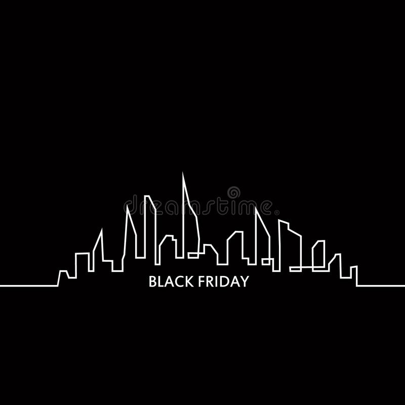 Black Friday in the City: the Perfect Sale. White Ribbon Banner in Flat Style on a Black Background with an Abstract. City Skyline. Vector Illustration vector illustration
