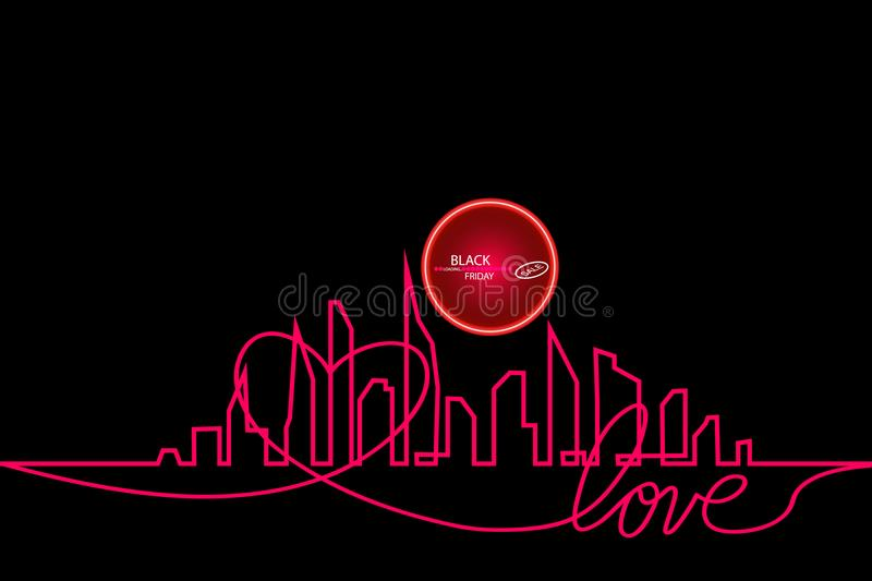 Black Friday in the City the Perfect Sale. White Ribbon Banner in Flat Style on a Black Background with an Abstract City. Skyline with Loading Bar. Vector royalty free illustration