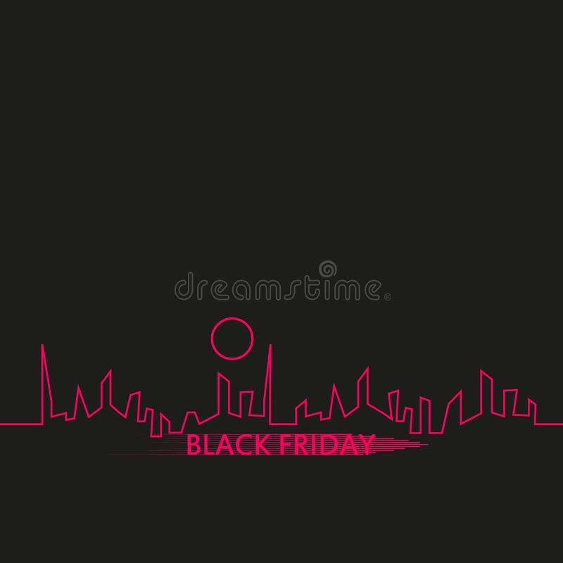 Black Friday in the City the Perfect Sale. White Ribbon Banner in Flat Style on a Black Background with an Abstract City. Skyline. Vector Illustration vector illustration