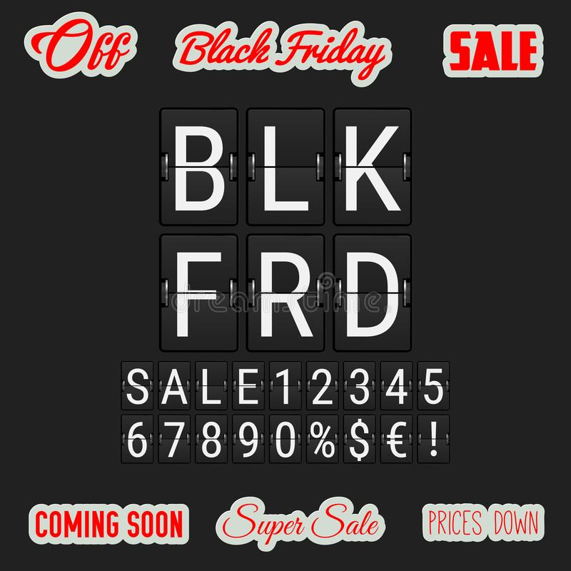Black Friday Coming Soon. Analog Flip Clock Letters,. Numbers and Signs. A Set of Labels Black Friday Related in Different Fonts. Vector Illustration stock illustration