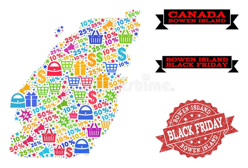 Black Friday Composition of Mosaic Map of Bowen Island and Textured Seal. Black Friday collage of mosaic map of Bowen Island and rubber stamp seal. Vector red stock illustration