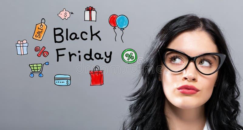 Black Friday con la empresaria joven imágenes de archivo libres de regalías