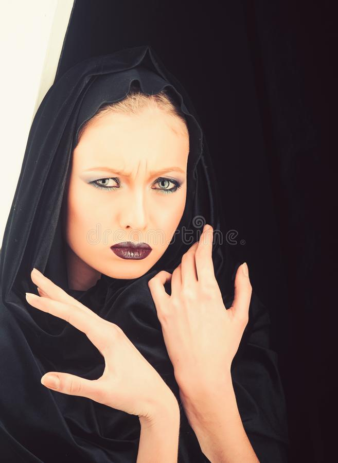 Black Friday concept. Gothic fashion and beauty. Makeup look and skincare sensual of girl. Fashion model with makeup of. Mysterious girl. madonna woman in black royalty free stock image