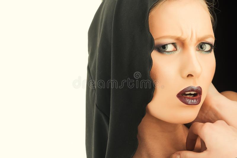 Black Friday concept. Gothic fashion and beauty. Makeup look and skincare sensual of girl. Religion and death concept. Woman in black hood. Fashion model with royalty free stock photo