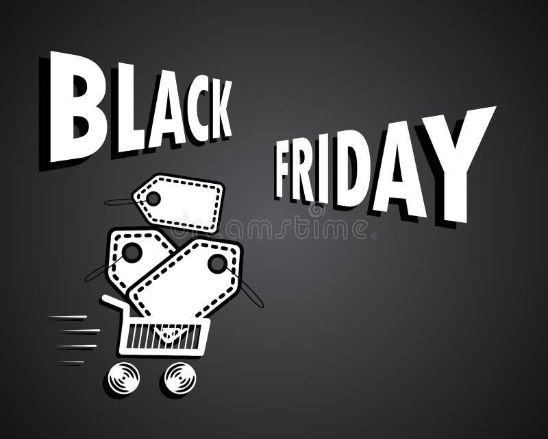 Black Friday. Concept, sale. Bang the shards. shopping cart banner. Big discount. Paper price tag. Vector illustration. Eps royalty free illustration