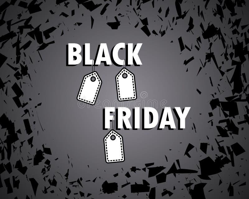 Black Friday. Concept, sale. Bang the shards. shopping cart banner. Big discount. Paper price tag. Vector illustration. Eps stock illustration