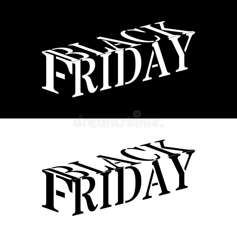 Black Friday - 3D słowa biel lub czerń ilustracja wektor