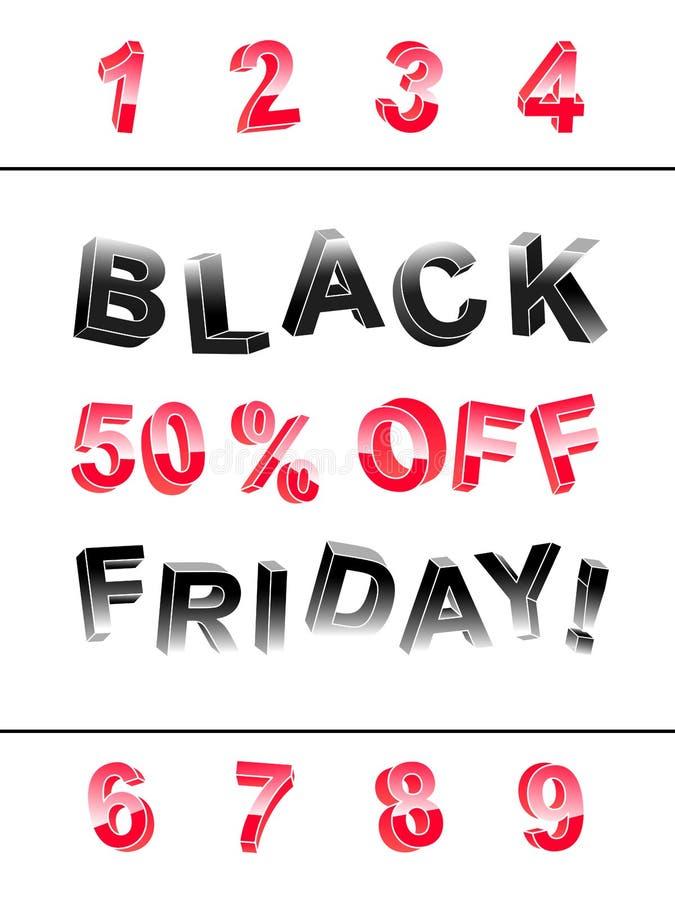 Black Friday, das Fahnenausrüstung Buchstaben 3d beschriftet stock abbildung