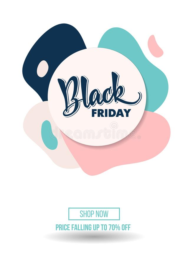 Black Friday-de affiche van de promoaanbieding van de verkoopkorting of reclamevlieg stock foto