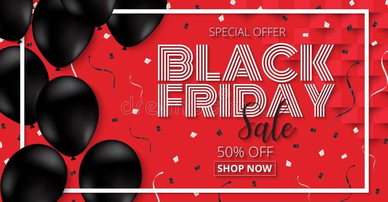 Black Friday-de Affiche van de Verkoopbevordering met zwarte Ballons op rood royalty-vrije illustratie
