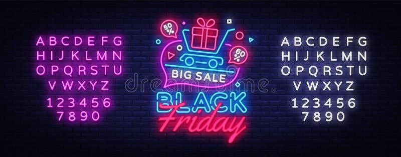 Black Friday-de banner van het Verkoopconcept in modieuze neonstijl, lichtgevend uithangbord Reclame Nightly van verkoopaftrek va vector illustratie