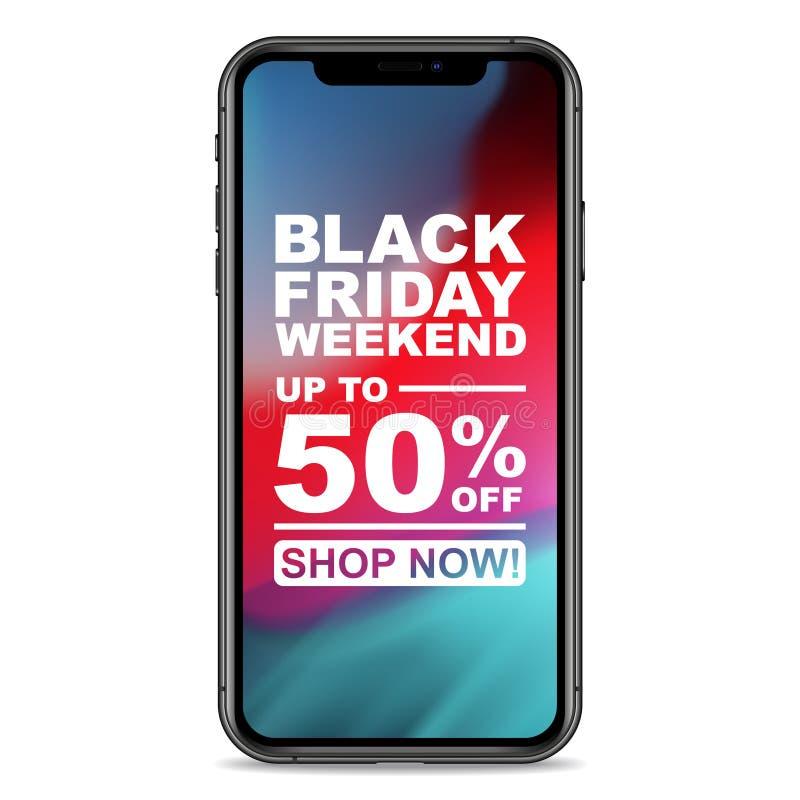 Black Friday-de Bevordering van Weekendsmartphone stock illustratie