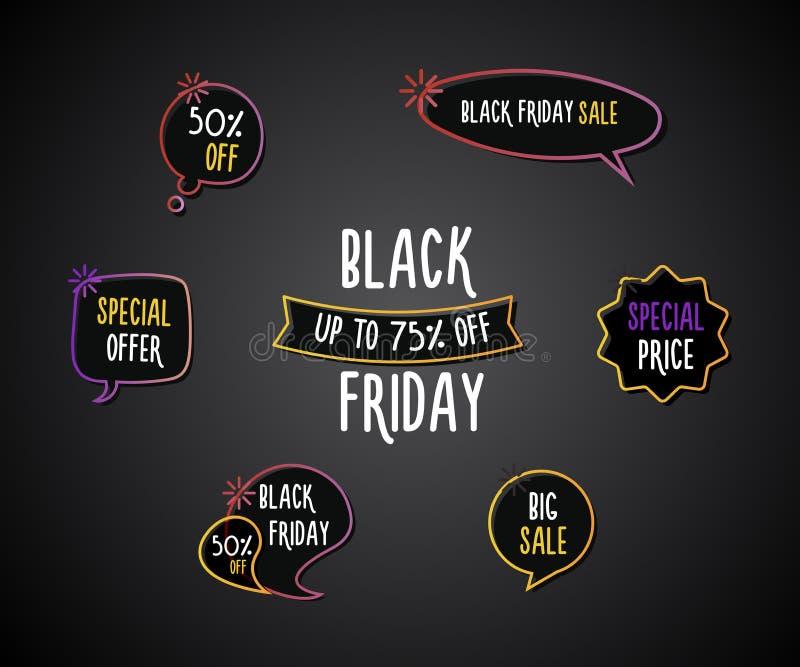 Black Friday-de reeks pretetiketten, etiketteert, toespraakbellen, banners, emblemen, pictogrammen De hand getrokken reeks van he stock illustratie