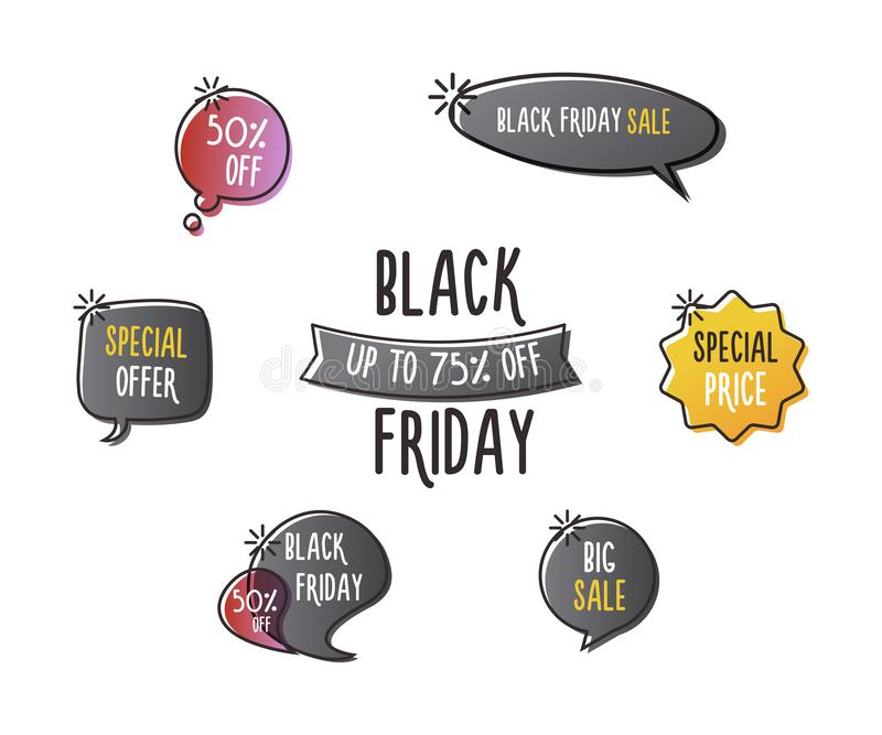 Black Friday-de reeks pretetiketten, etiketteert, toespraakbellen, banners, emblemen, pictogrammen De hand getrokken reeks van he royalty-vrije illustratie